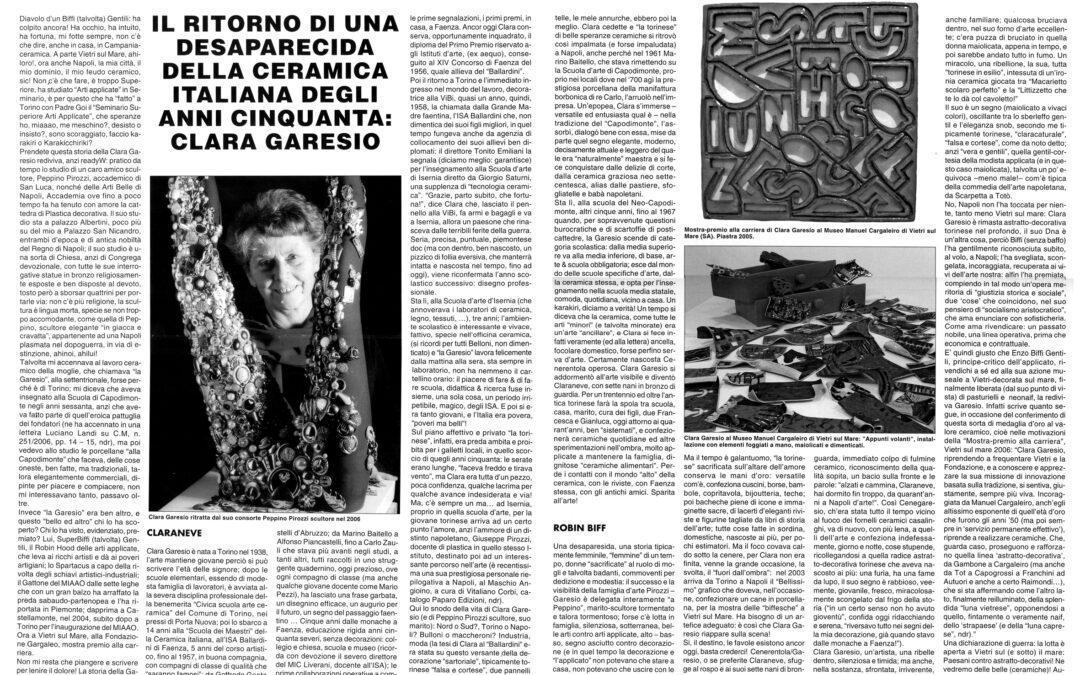 Eduardo Alamaro. Il ritorno di una desaparecida della ceramica italiana degli anni Cinquanta: Clara Garesio